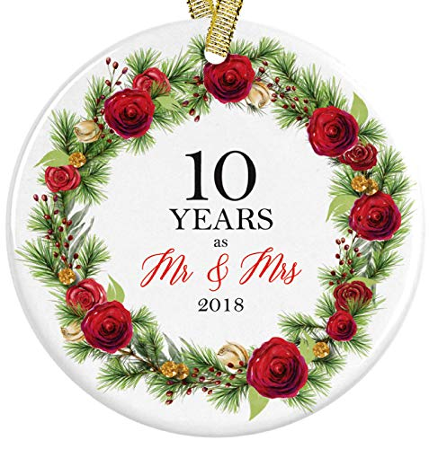 10 Years as Mr and Mrs Anniversary Christmas 2018 Red Floral Mistletoe Ceramic Round Ornament, Collectible 3