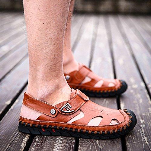 Spiaggia HGDR Viaggiare Casual Uomo Sandali Perfetti Walking Da Outdoor Per Punta Estate Sandali Pantofole Brown La Chiusa Pelle In ww6zrq