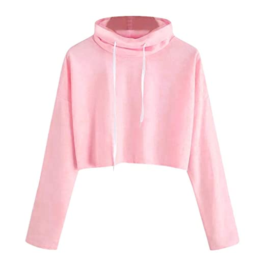 0b0f35943 Leewos 2018 New! Sexy Short Hoodie, Women Girls Solid Pink Hoody ...