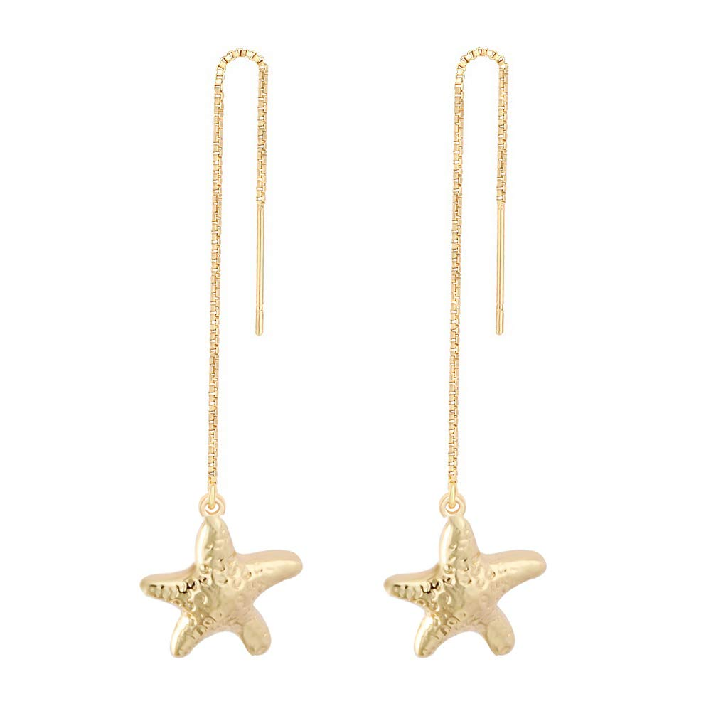 MANZHEN Summer Beach Starfish Nautical Charm Threader Earrings (gold)