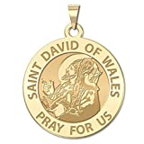 Saint David of Wales Round Religious Medal - 3/4 Inch Size of a Nickel -Solid 14K Yellow Gold