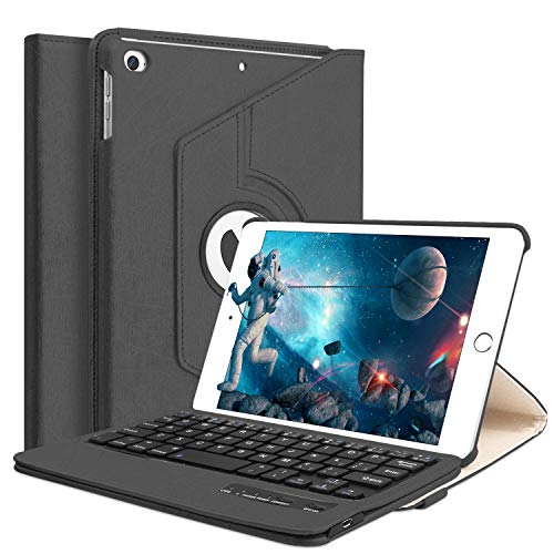 iPad Mini 5 2019/Mini 4 Keyboard Case,Boriyuan 360 Degree Rotating Stand PU Leather Smart Cover with Detachable Wireless Bluetooth Keyboard for iPad mini 4/5(A1538/A1550/A2133/A2124/A2126/A2125)-Black