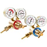 Dual Gauge Oxygen & Acetylene Solid Brass Regulator for Welding Victor Gas Torch Cutting - CGA540 and CGA200 Rear Mount Fitting