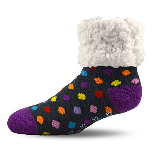 (Pudus 2302-wp-312 Polka Dotted Slipper Socks, Acrylic And Polyester,Multicoloured,One Size)