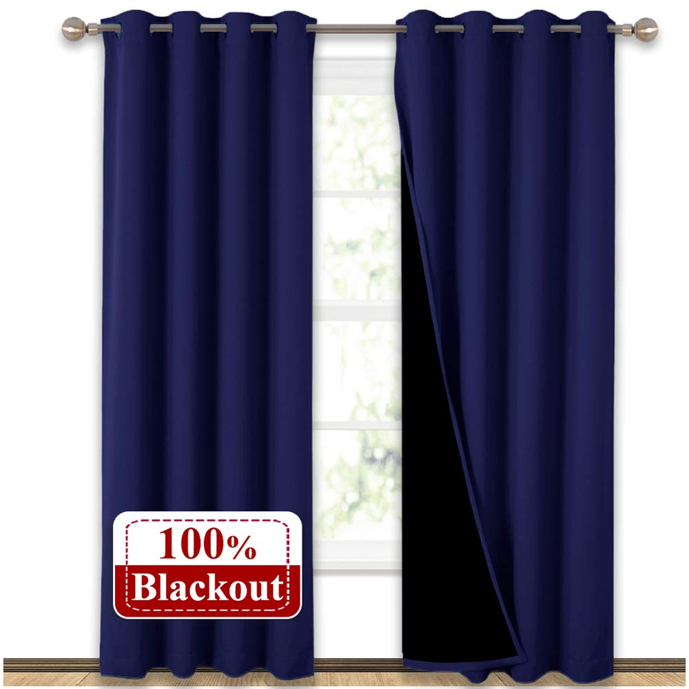 "NICETOWN 100% Blackout Blinds, Laundry Room Decor Window Treatment Curtains, Thermal Insulated Energy Smart Drapes and Draperies for Villa, Hall and Studio, Navy Blue, Set of 2, 52"" x 95"""
