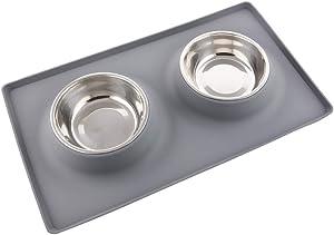 Guardians Dog Food Mat Stainless Steel Dog Bowls, No Spill Non-Skid Silicone Mat Pet Feeder Bowl Small Animals, 2 Medium Bowls (2 x 13.5oz), Grey