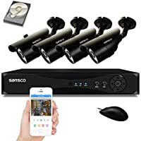 SANSCO Security Camera System with 4-Channel 1080N DVR, 4 Bullet Cameras (All HD 720p 1MP), and 1TB Internal Hard Drive Disk - All-in-One Surveillance Cameras Kit