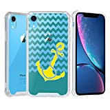iPhone XR Case, Beyondcell Clear TPU + PC 4 Corner Case + Wireless Charging Compatible Design - Yellow Anchor/Chevron
