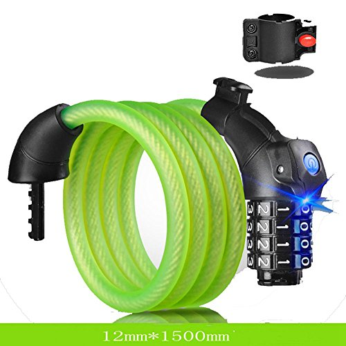 JPOJPO Bike Lock Cable Portable Resettable Combination Cable Self-Coiling with Mounting Bracket and LED Light 5feet x 1/2 inch Diameter Green -