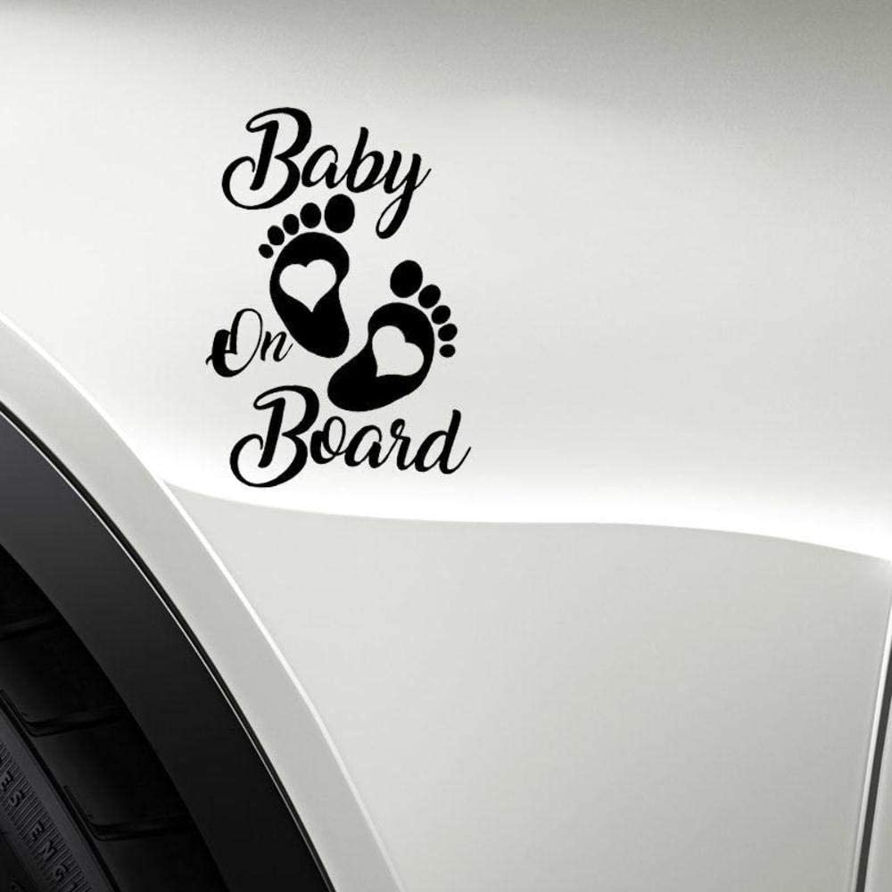 Stukk Stickers Baby On Board Aufkleber Fur Autofenster Vinyl 12 7 Cm X 17 8 Cm Schwarz Auto