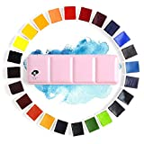 24 Colors Paul Rubens Watercolor Paint Artist Grade Solid Cakes Travel Pocket Watercolor Set Painting Paint with Metal Box Case