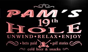 pig366-r Pam's 19th Golf Hole Beer Bar Neon Light Sign