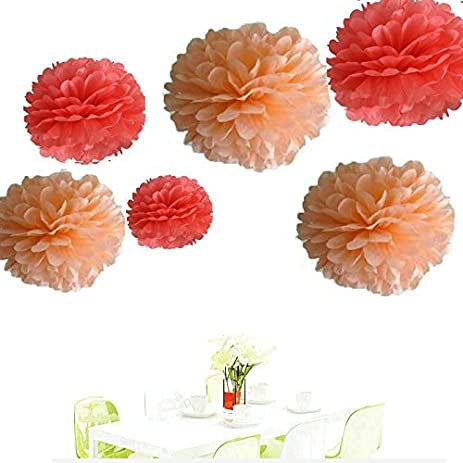 Amazon since12pcs of 8 10 14 3 colors mixed coral and peach since12pcs of 8quot 10quot 14quot 3 colors mixed coral and peach tissue paper mightylinksfo Image collections
