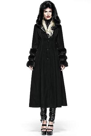 acd2071a18ca Steampunk Damen Winterjacke Lolica Style Woolen Pelzmantel Mode Langarm mit  Kapuze Lange Jacke  Amazon.de  Bekleidung