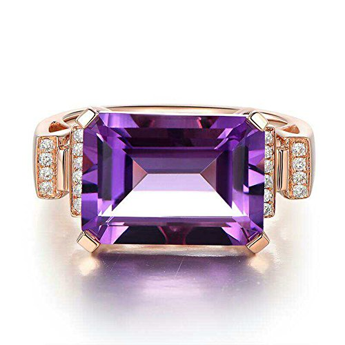 18K Rose Gold Plated Crystal Engagement Promise Anniversary Cocktail Wedding Rings Purple Color (7) - Ladies Cocktail Ring Gold Plated