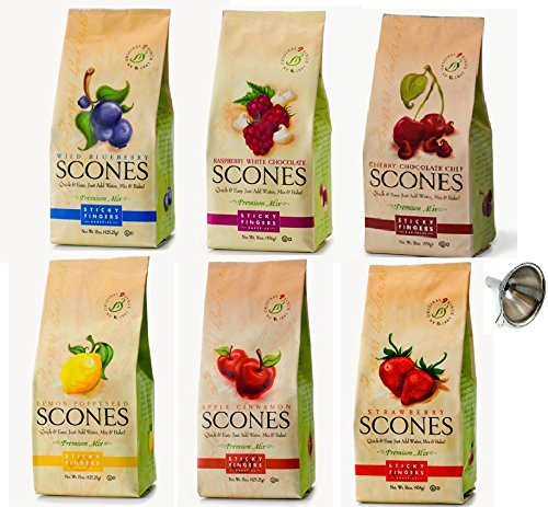 Apple Scone Mix - Sticky Fingers Bakeries Wild Blueberry, Raspberry White Chocolate, Cherry Chocolate Chip, Apple Cinnamon, Strawberry, With Funnel Variety 6 Pack