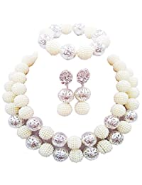 aczuv Fashion Nigerian Wedding African Beads Jewelry Set for Women Simulated Pearl Necklace and Earrings