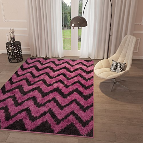 Pink Chevron Zig Zag Shag Area Rug 5' x 7'2'' Geometric Modern Shaggy Area Rug Living Kids Room Bedroom Playroom Girls Baby Room Rug Easy Clean Carpet Contemporary Soft Plush Area Rug