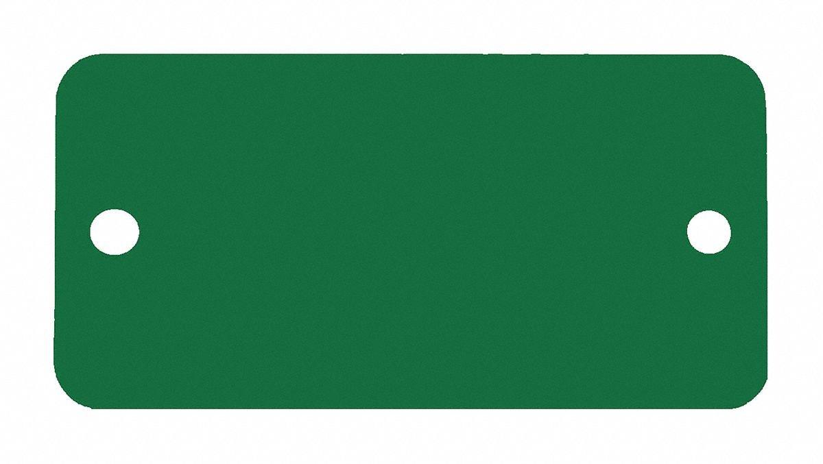 Green Blank Tag, Aluminum, Rectangle, 1'' Height, 5 PK