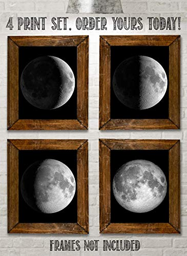 Moon Phases - Set of Four 8x10 Unframed Art Prints - Great Gift and Decor for Astronomers, Observatories and Home Under… 8