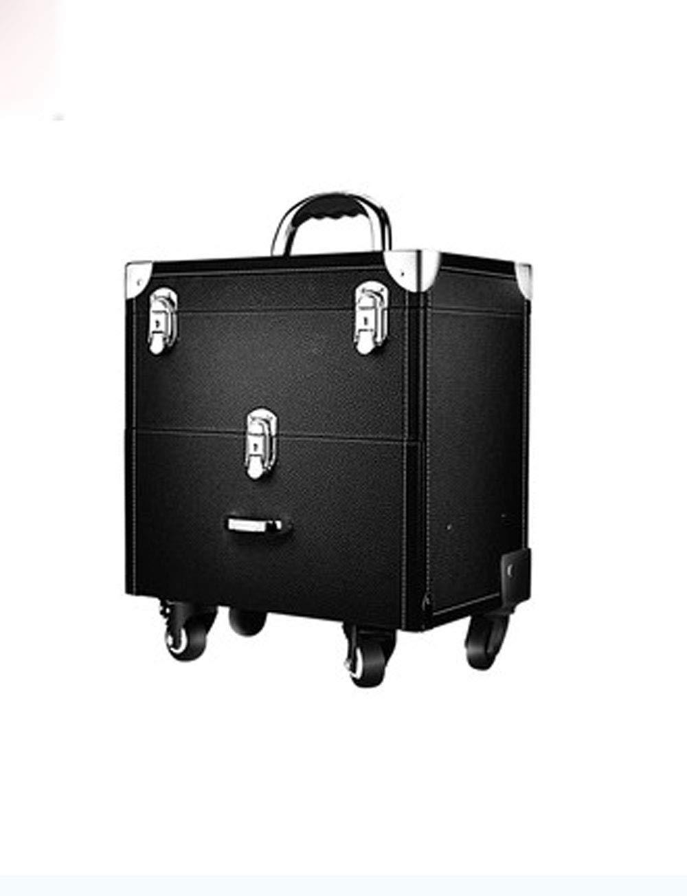ファッションメイクトロリーケース、引き出しのデザイン、回転ローラー (色 : 黒) B07GGSFZ7B