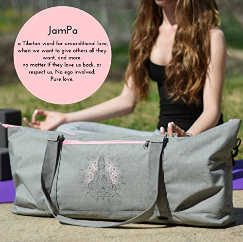JamPa Yoga Mat Tote Bag | Full Zipper Closing | Adjustable Strap | Many Compartments | Easy to Carry | Long Pro Mats Will Not Fit
