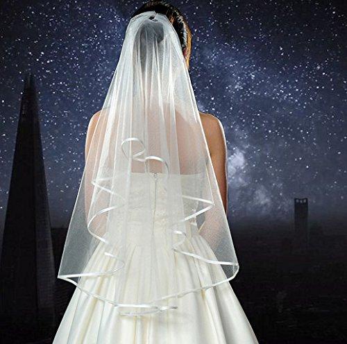 White Double Ribbon Edge Center Cascade Bridal Shower Wedding Veil With Comb & Bride To Be Satin Sash Plus Garter & Rose Tint Glasses Bachelorette Party Decorations Supplies 4 Pack Complete Bundle