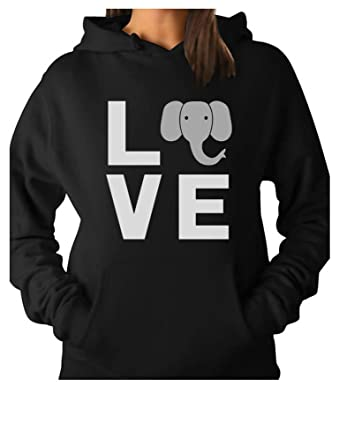 178a3a3a4 TeeStars - Love Elephants Be Kind to Elephants Animal Lover Women Hoodie  Small Black