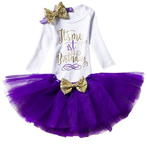 Baby Girl It's My 1st/2nd Birthday Cake Smash 3/4Pcs Shinny Sequin Bow Romper+Tutu Skirt+Headband+Leg Warmer Outfit -