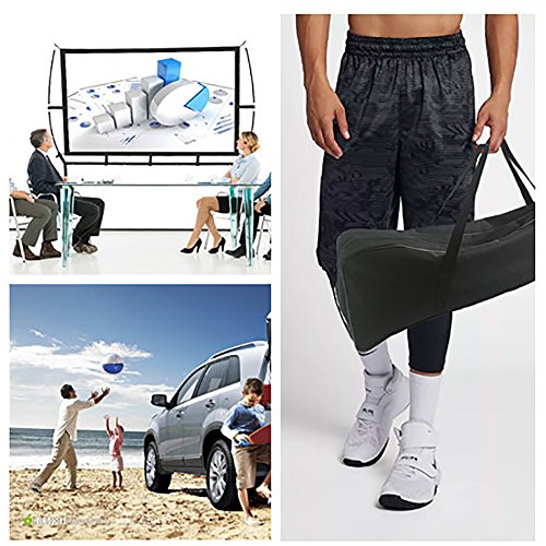 Portable Projector Screen with Stand, Indoor and Outdoor Movie Screen 100'' Diagonal 16:9 with Wrinkle-Free Design (Easy to Clean, 1.1 Gain, 160° Viewing Angle and Includes a Carry Bag) by Blina (Image #1)