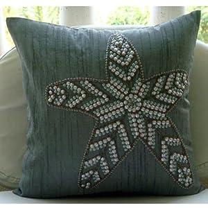 Amazon Com Grey Decorative Pillow Cover Sequins Starfish