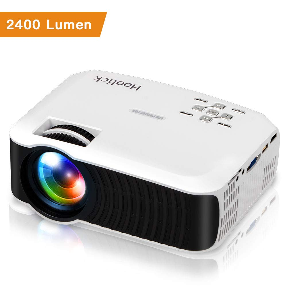Home Theater Projectors, Hoolick Home Projector Compatible for 1080p, Supports Android/IOS/Laptop/TV Box via HDMI, Multi-Purpose 2400 Lumen Video Projector(T22)