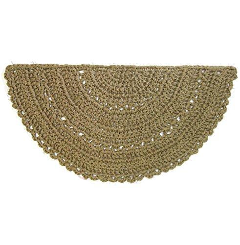 Jute Slice or Half Circle Area Rug - Natural Fiber - Handmade Crochet - 42'' x 21'' by Exotiflora