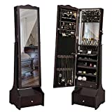 SONGMICS LED Jewelry Cabinet Lockable Jewelry Armoire with Full Length Mirror, Makeup Tray and Large Drawer Base Brown Patented UJJC87BR