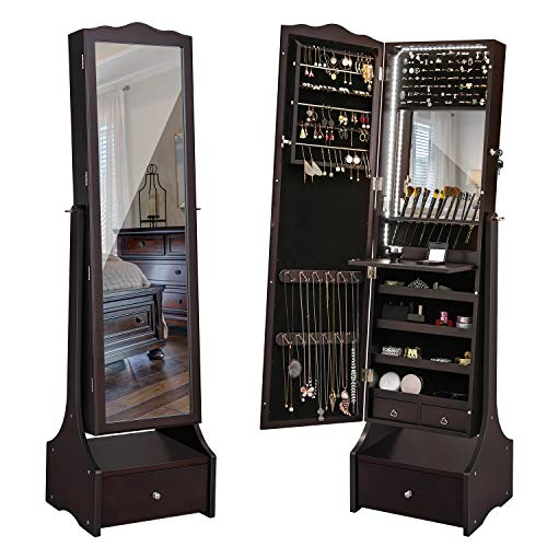 Armoire Mdf Set (SONGMICS LED Jewelry Cabinet Lockable Jewelry Armoire with Full Length Mirror, Makeup Tray and Large Drawer Base Brown Patented UJJC87BR)