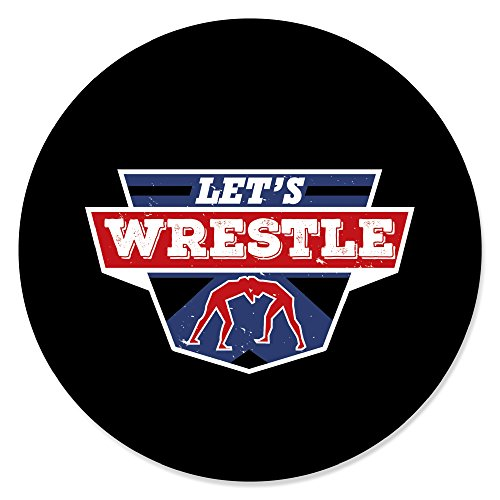 Own The Mat - Wrestling - Birthday Party or Wrestler Party Circle Sticker Labels - 24 Count