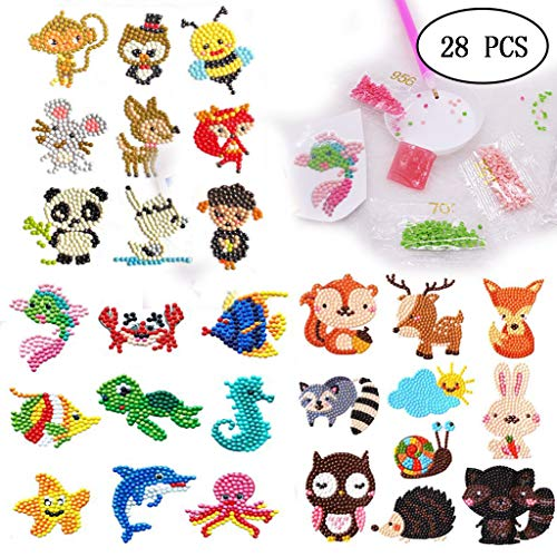 28 Pieces DIY 5D Diamond Painting Kits Stickers for Kids and Adult Beginners, Easy to DIY Animal Decorate More Places