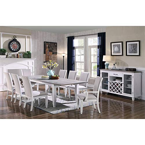 Pemberly Row Littlemoor Antique White Buffet with Rustic Wood Top