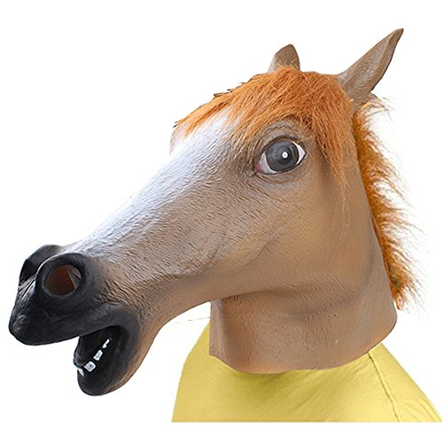 AGPtek Latex Mask Horse Head for Masquerade Parties Cosplay Halloween Brown (Horse Mask Child)