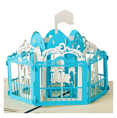 riding horse merry go round fun blank 3d pop up display anniversary cards wedding idea birthday boy diy girl friend good luck goodbye all occasion baby greeting graduation new born kid toddler (blue)