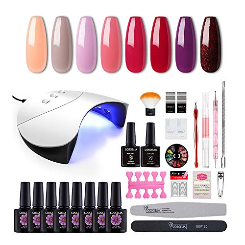 Coscelia Gel Nail Starter Kit with 36W LED Curing Lamp 8 Colors Gel Nail Polish Top and Base Coat Nail Manicure Tools (Best Nail Polish Remover Uk)