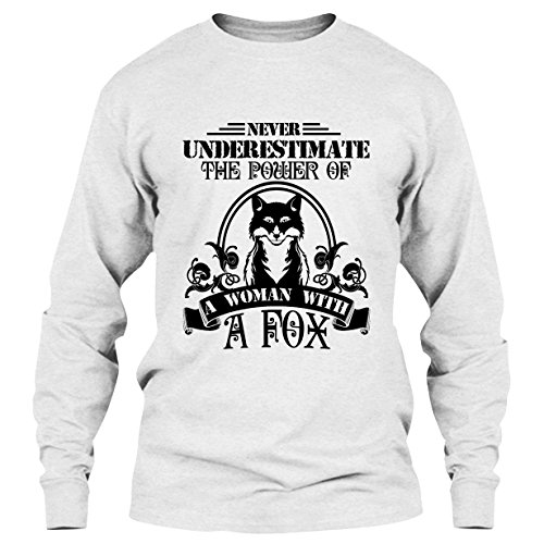 EZARO Fox T Shirt - The Power of Woman with A Fox Cool T Shirts Design Long Sleeve (L,White)