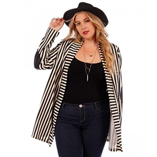 Plus-Size-Jackets-for-Women-1X-Striped-Lightweight