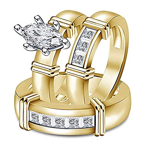3.50 Ct Marquise & Princess Cut Diamond 14k Yellow Gold Plated Trio Wedding Ring Set