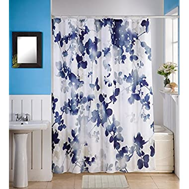 SkyMoving Luxury Style 14-Piece Bathroom Accessory Set: 1 Bath Mat 18L x 28W, Shower Curtain 70W x 70L & 12 Shower Curtain Rings (Blue Floral)