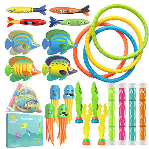 BABCOO 24 Piece Pool Diving Toys for Kids Toddlers Summer Water Fun with Swim Rings Dive Sticks for Boys Girls