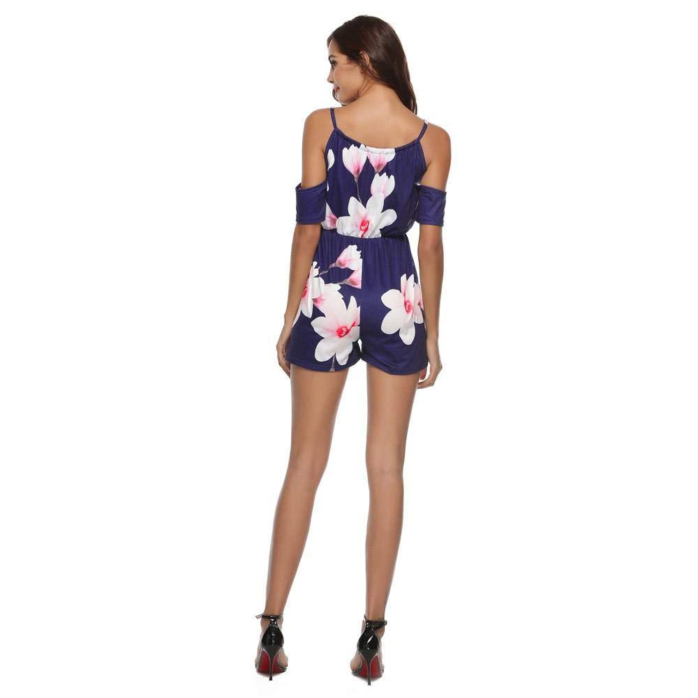 BuyBnK Fashion Floral Print Off Shoulder Romper