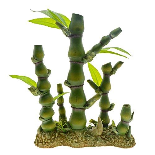 Saim Aquarium Artificial Bamboo Plants Decor Plastic Plant Betta Hideout for Aquarium Fish Tank Bonsai Ornament Green, ()
