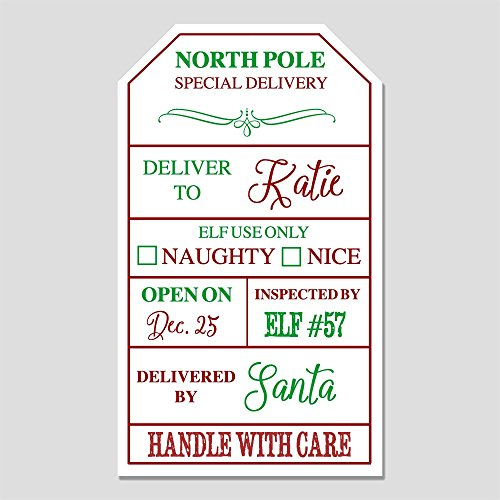 12 Personalized Santa Gift Label Stickers - Customized Gift Tags for Gifts from Santa (GT7) (Tags Santa Gift)