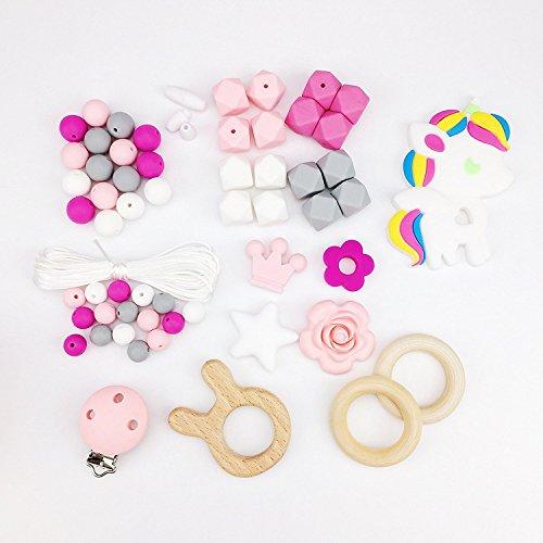 Baby Teether Silicone Teething Beads Nursing Bracelet Teething Ring Baby Bracelet Teething Toys,Rabbit